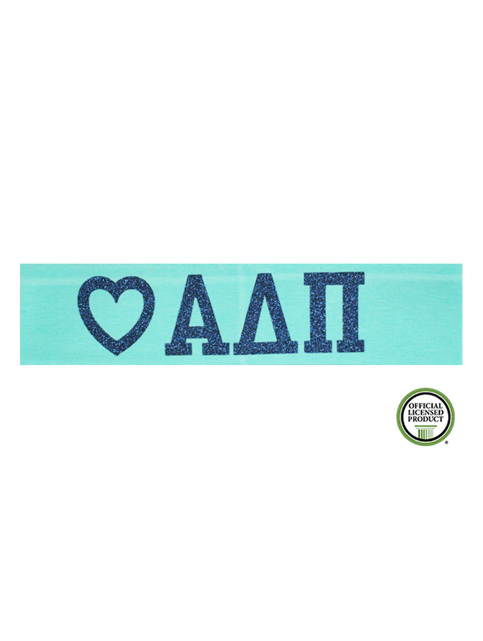 Alpha Delta Pi Headband Love Greek - Aqua/Navy Sparkle
