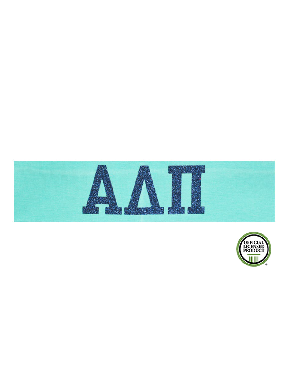 Alpha Delta Pi Headband Greek - Aqua/Navy Sparkle