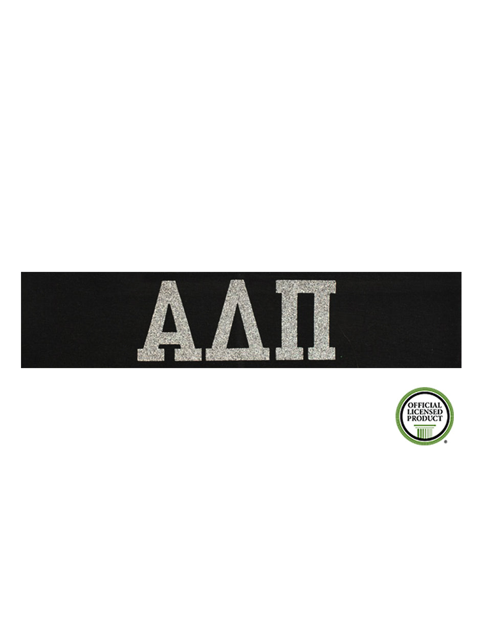Alpha Delta Pi Headband Greek - Black/Silver Sparkle