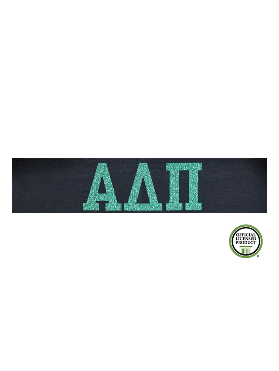 Alpha Delta Pi Headband Greek - Navy/Aqua Sparkle