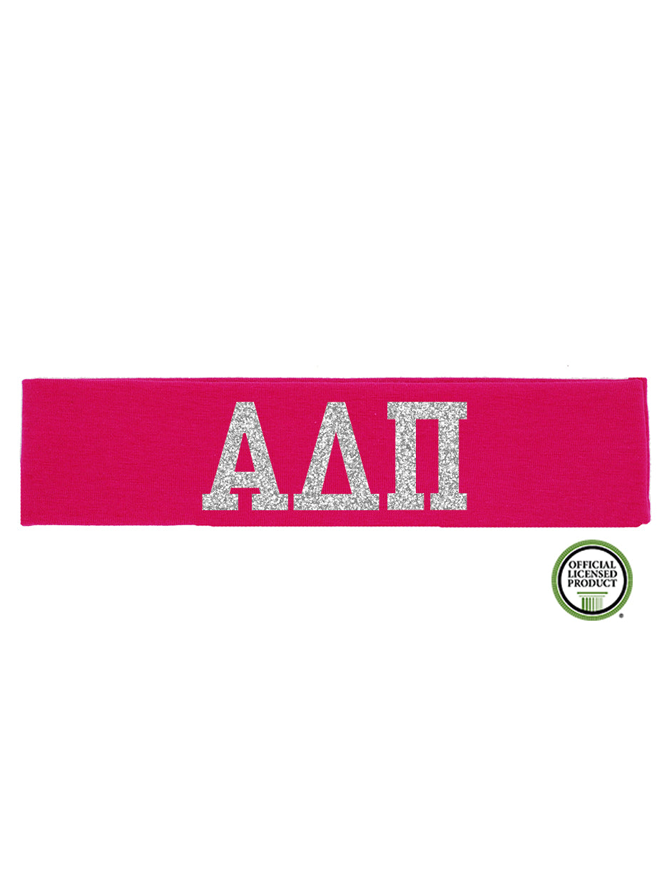 Alpha Delta Pi Headband Greek - Hot Pink/Silver Sparkle