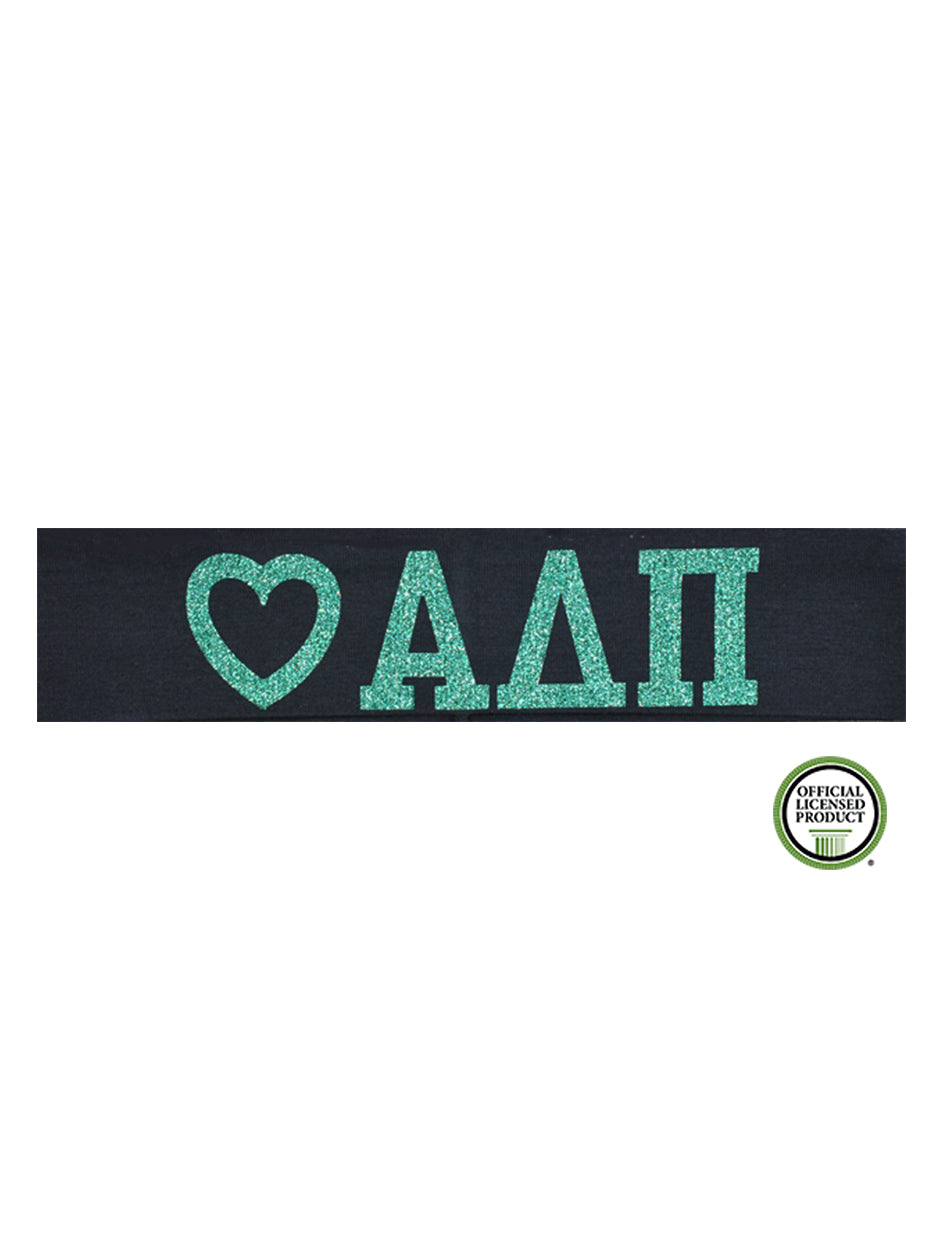 Alpha Delta Pi Headband Love Greek - Navy/Aqua Sparkle