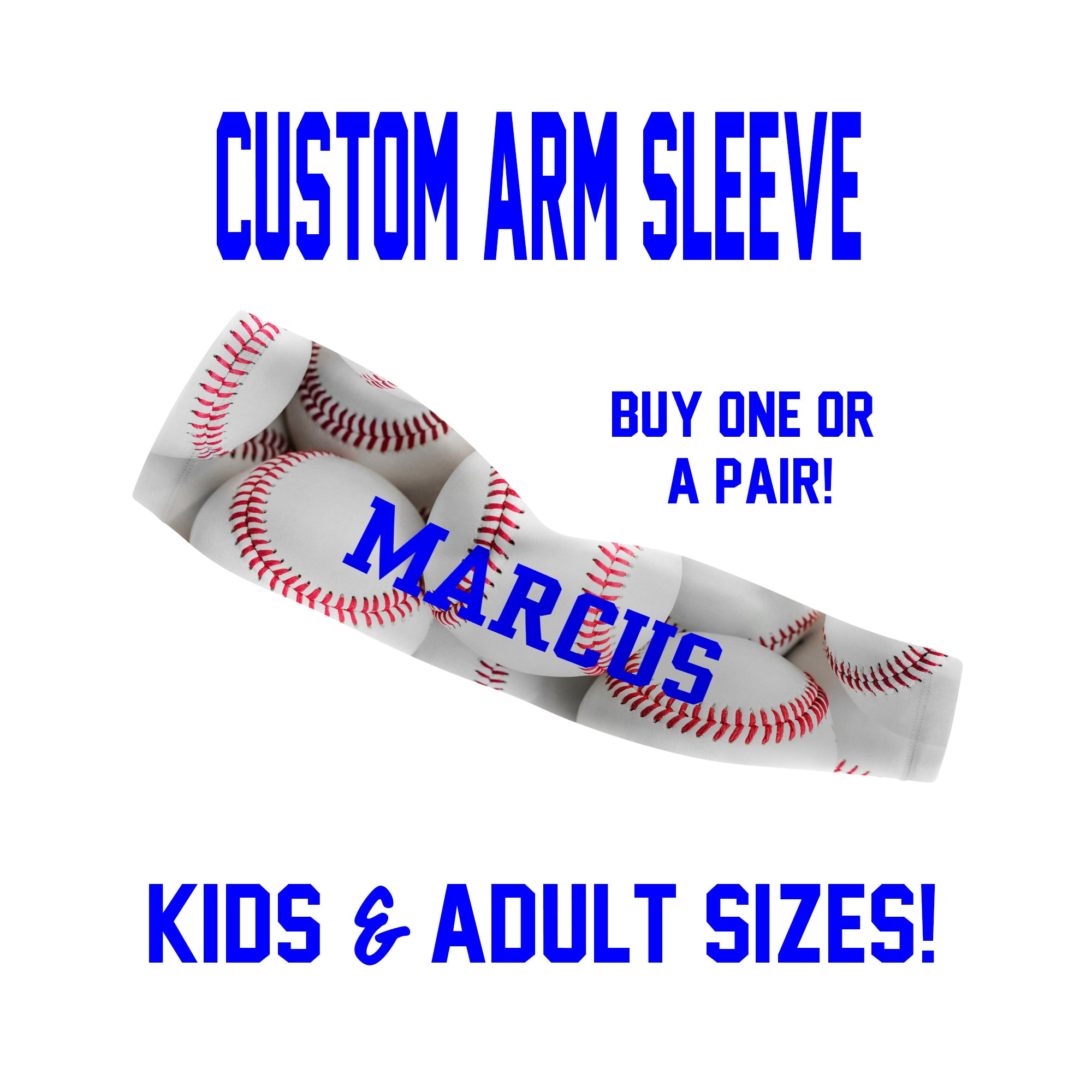 Custom Baseball Arm Sleeves Laces - Full Baseballs - Single or Pair