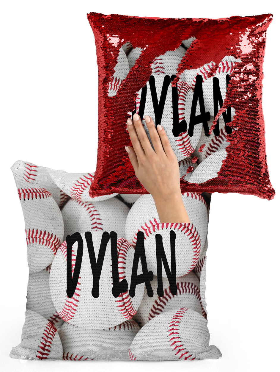PERSONALIZED Baseball Sequin Flip Mermaid Pillow