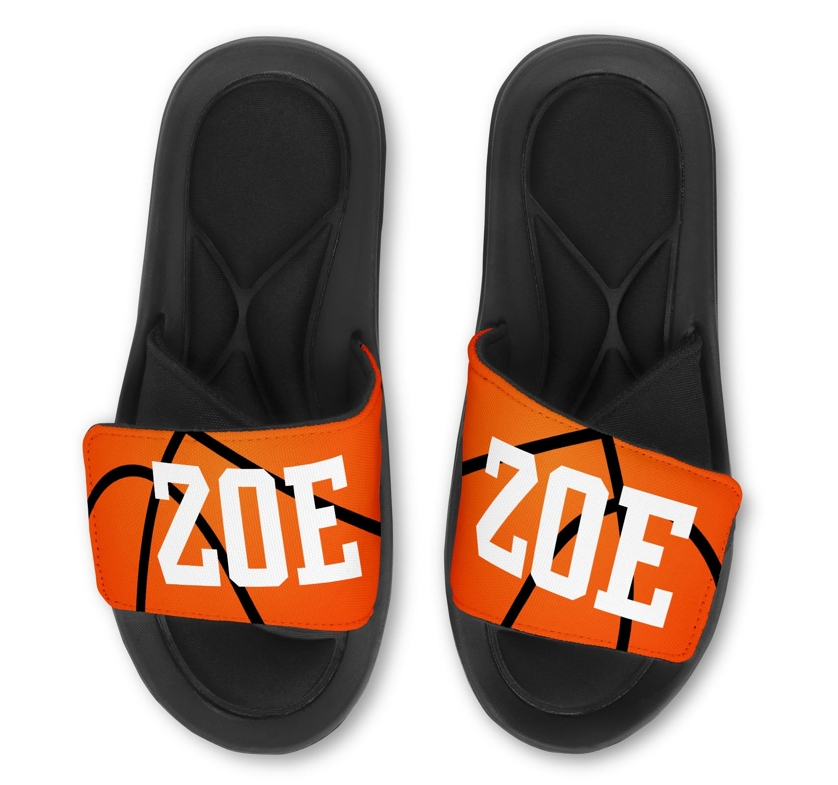 BASKETBALL Slides (Faux Basketball) - Customize with Your Name and/or Number
