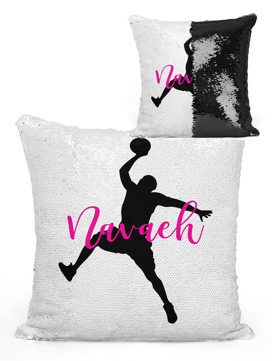 Custom Personalized BASKETBALL PLAYER Sequin Mermaid Flip Pillow