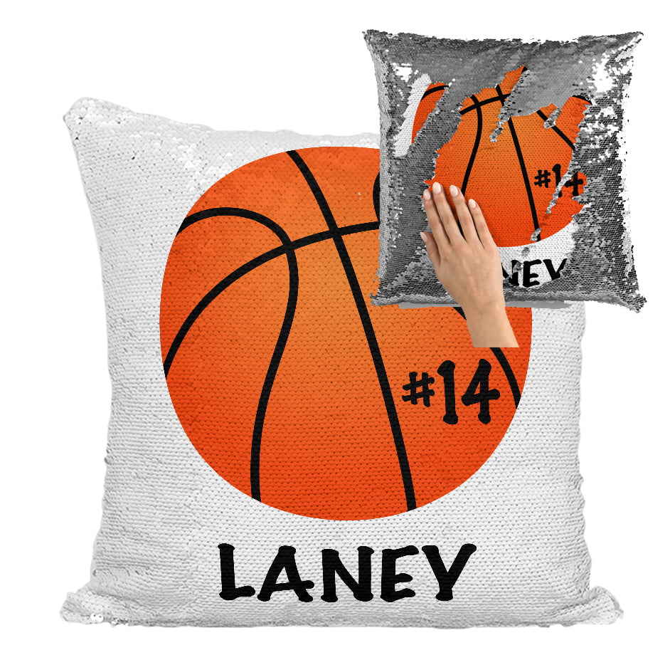 PERSONALIZED BASKETBALL MERMAID SEQUIN FLIP PILLOW