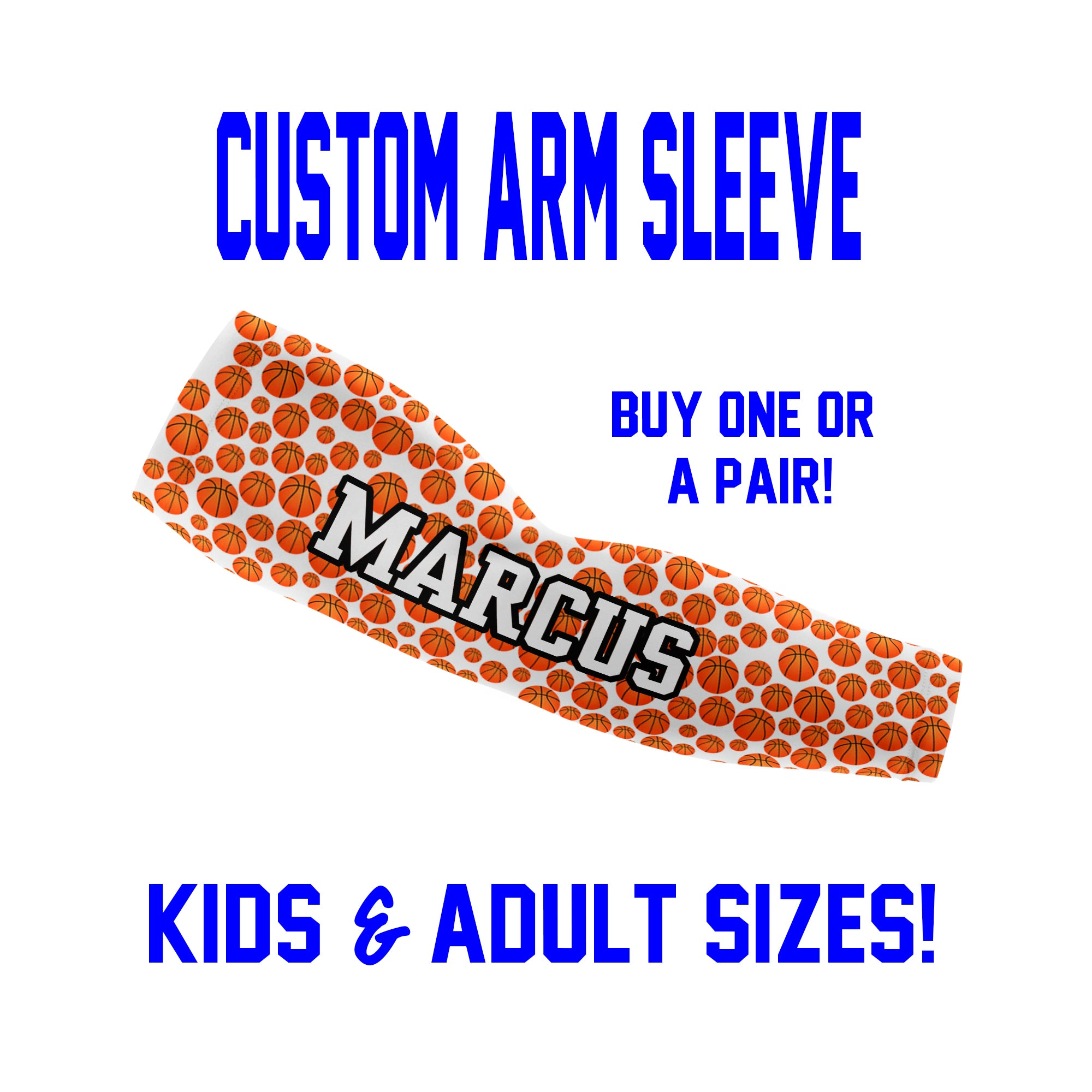 Custom Basketball Arm Sleeves - Mini Basketballs - Single or Pair
