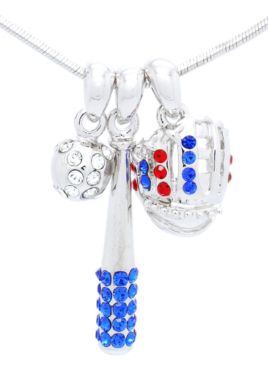 Bat/CLEAR Ball/Glove Combo Necklace