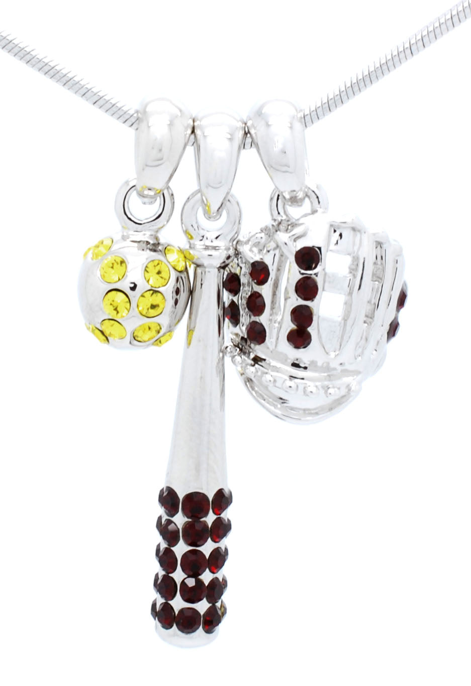 Bat/YELLOW Ball/Glove Combo Necklace