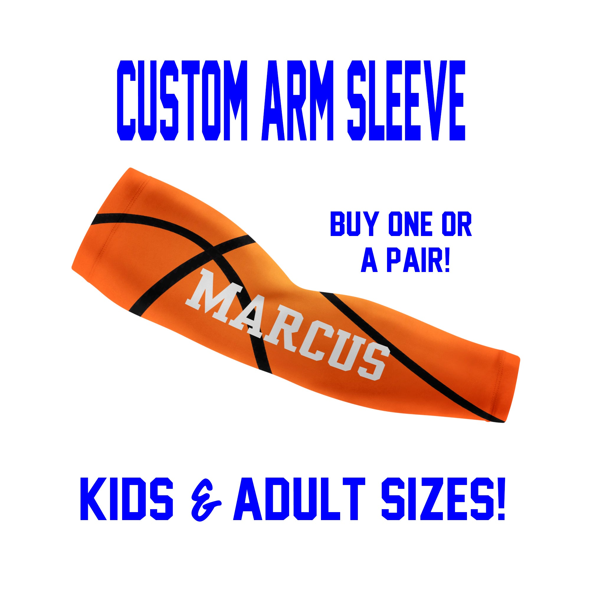 Custom Basketball Arm Sleeves - Faux Basketball - Single or Pair