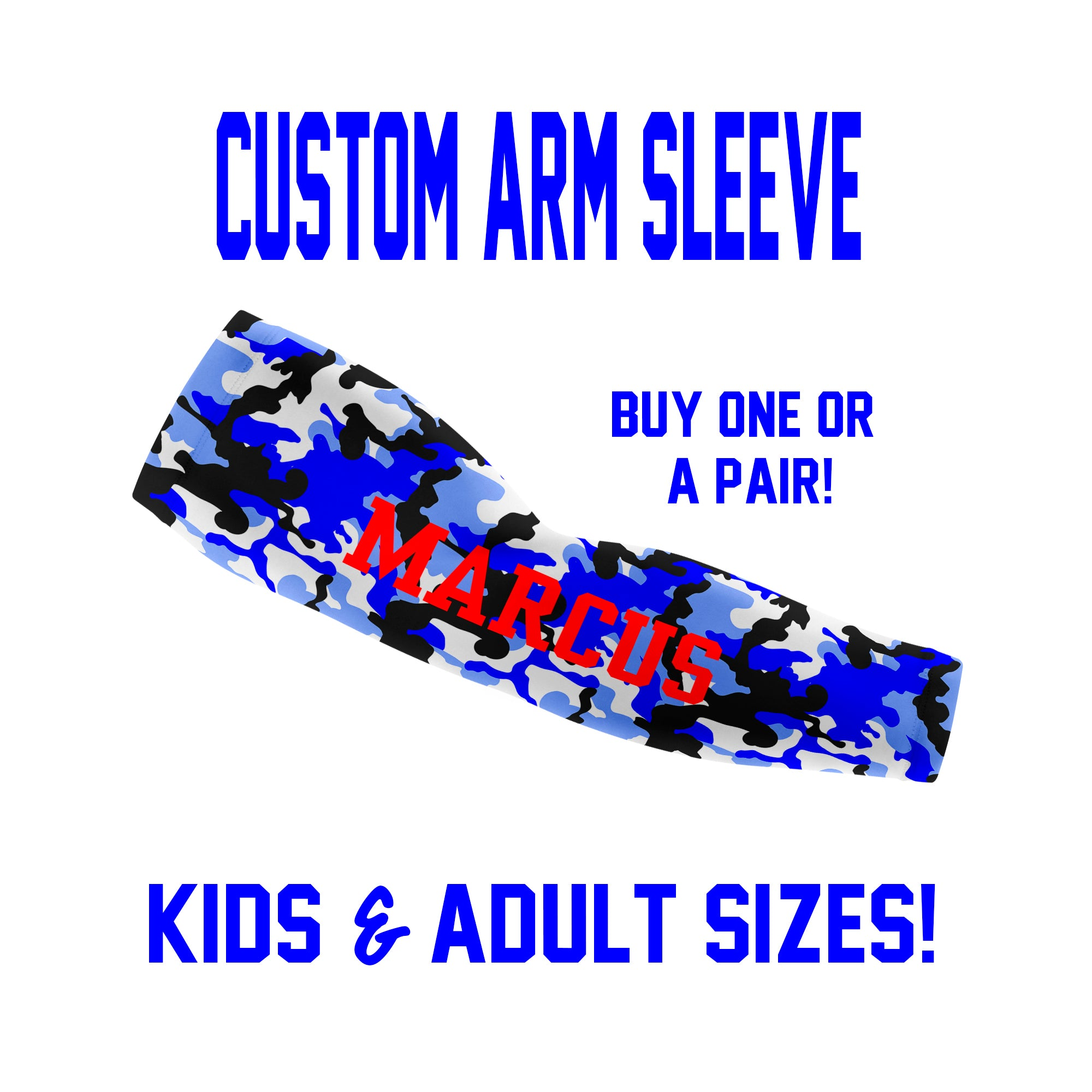 Custom CAMO Arm Sleeves - Single or Pair - Choose Your Background