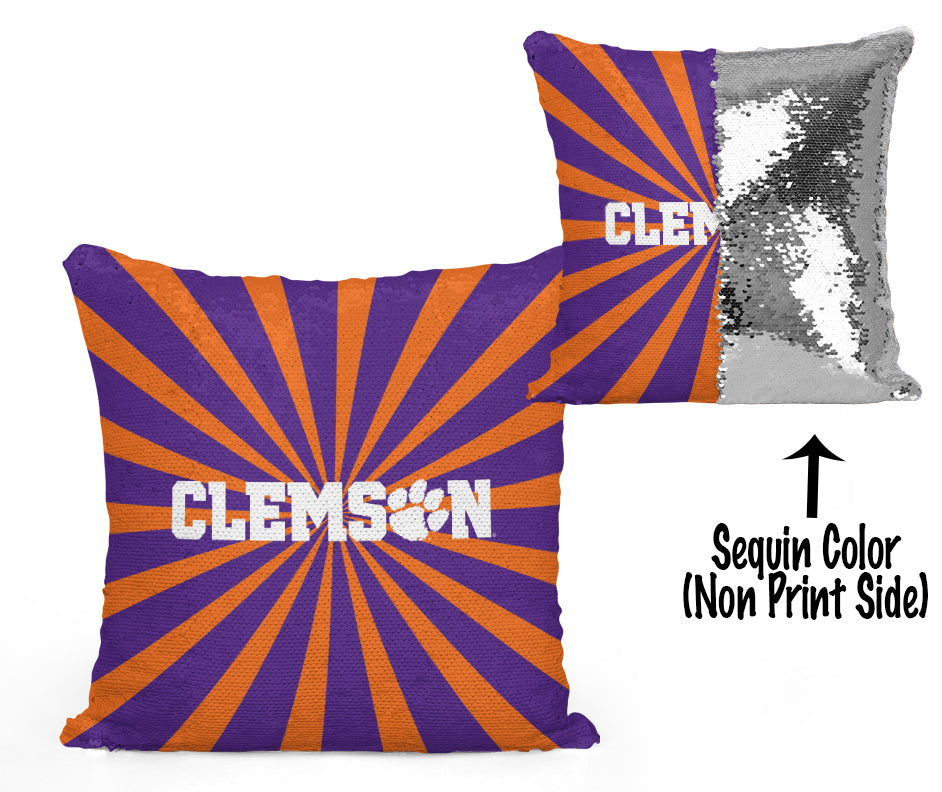 Clemson Sequin Flip Pillow - Starburst Design