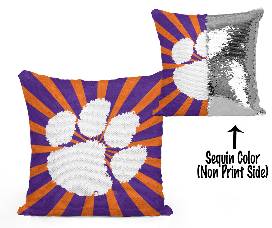 Clemson Paw Sequin Flip Pillow - Starburst Design