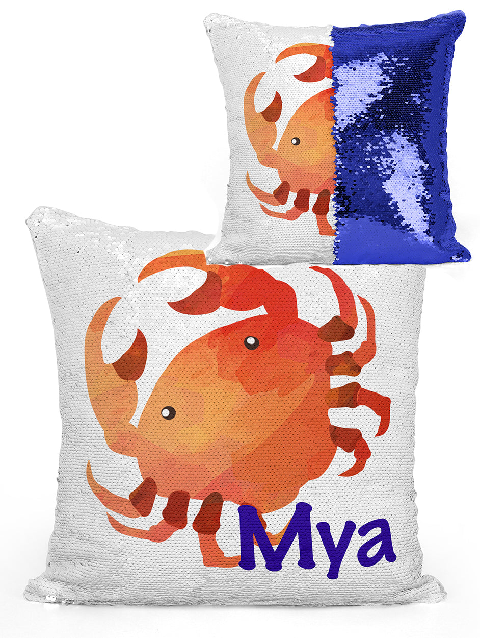 Custom Personalized CRAB Sequin Mermaid Flip Pillow