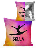 PERSONALIZED DANCER GYMNAST LEAPING Mermaid Sequin Flip Pillow