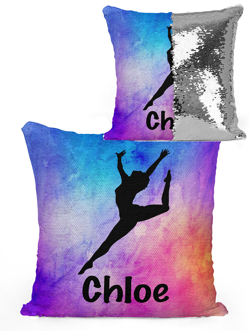 PERSONALIZED DANCER LEG UP Mermaid Sequin Flip Pillow - Watercolor #1