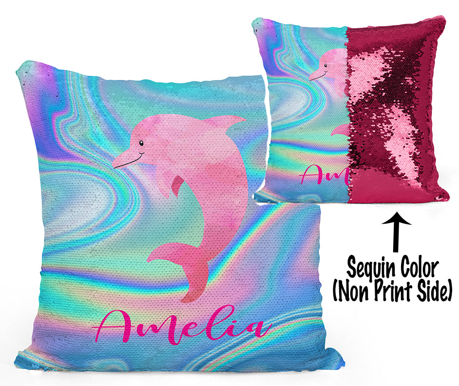 Custom Personalized DOLPHIN Sequin Mermaid Flip Pillow