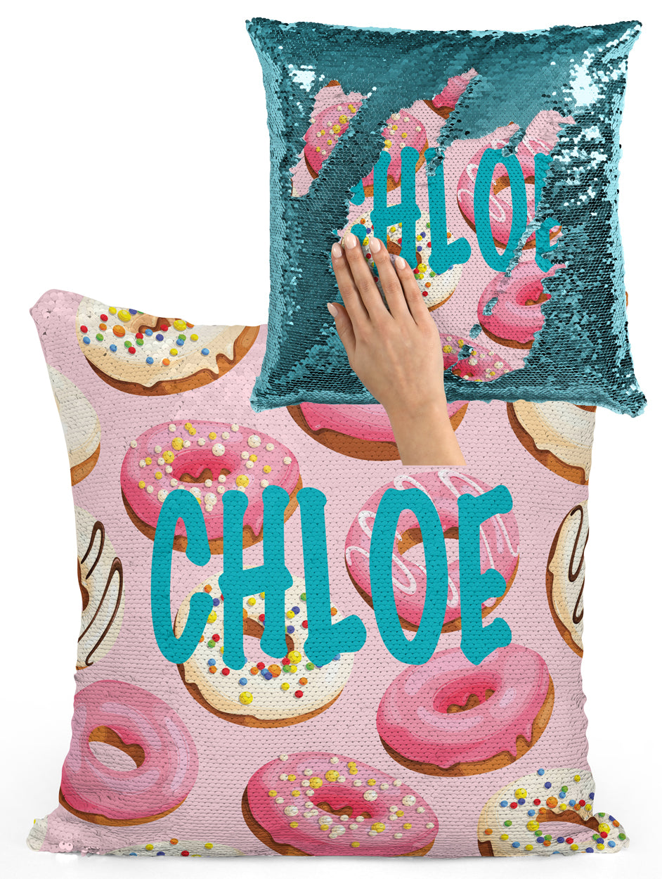 PERSONALIZED DONUT (DOUGHNUT) MERMAID SEQUIN FLIP PILLOW