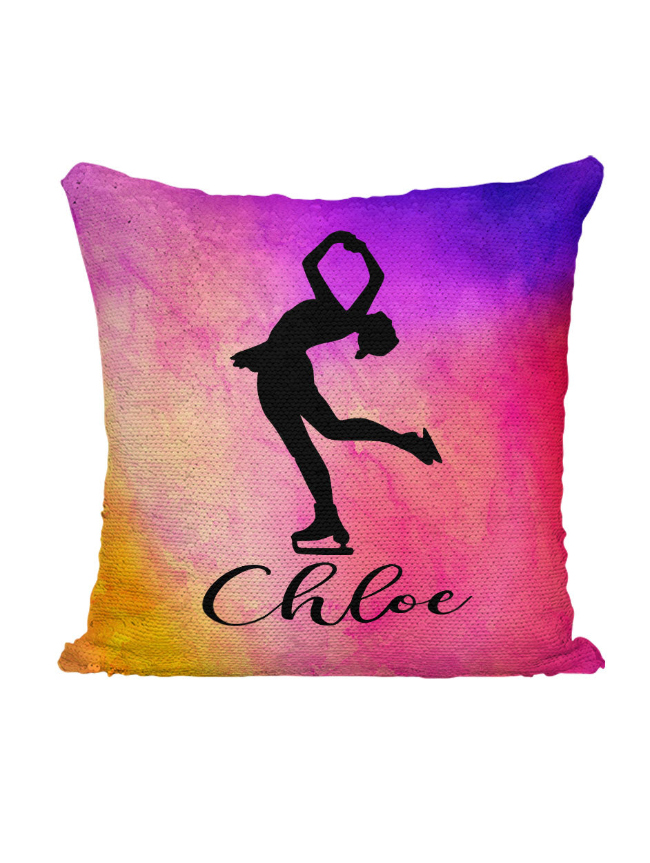 CUSTOM SEQUIN PILLOW - SKATING - Rainbow Watercolors
