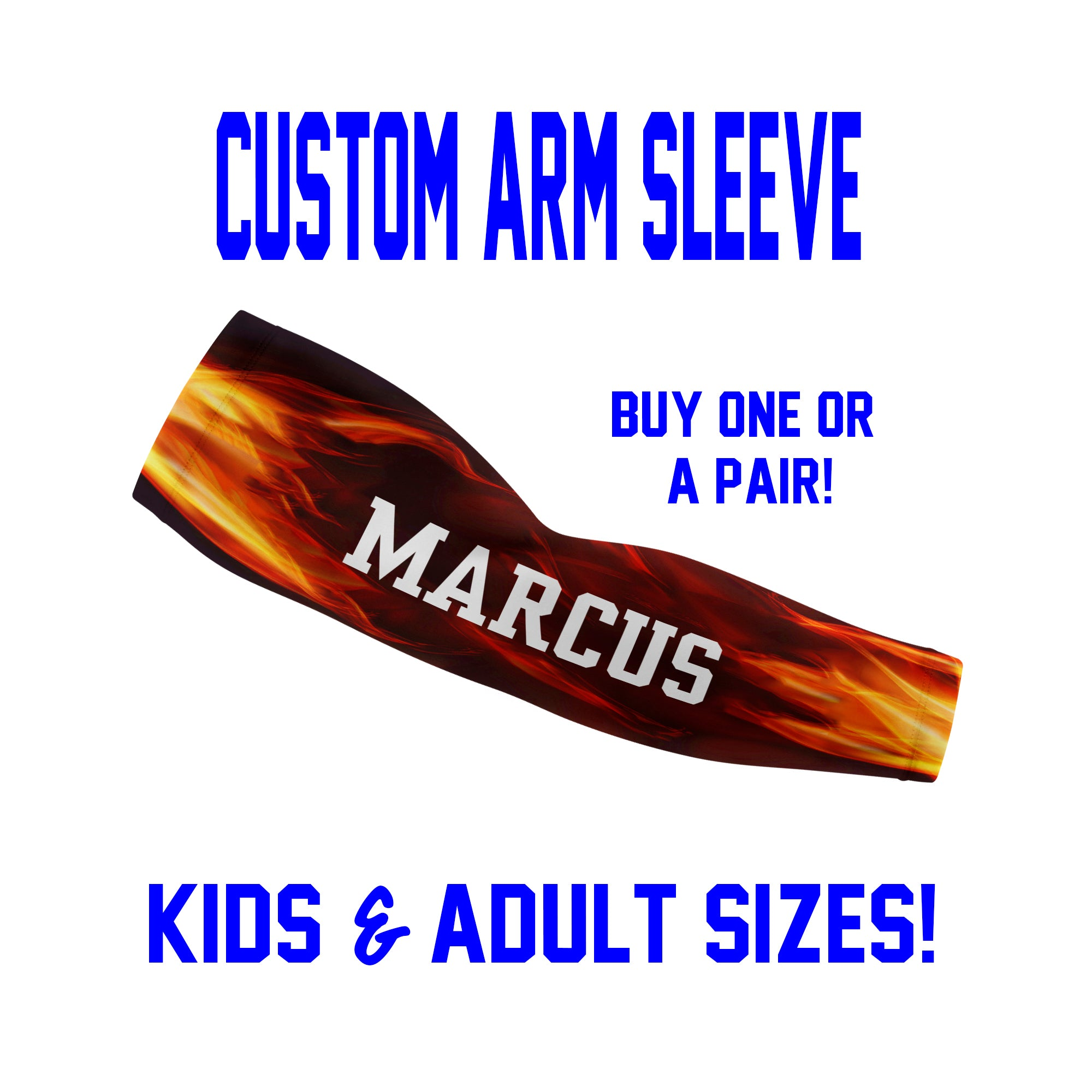 Custom Arm Sleeves Laces - Flames and Fire Sleeves - Single or Pair