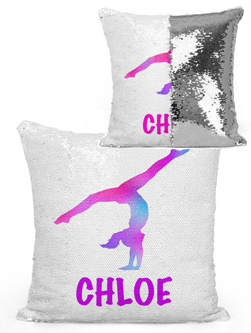 PERSONALIZED GYMNAST Mermaid Sequin Flip PILLOW - Blue/Pink Watercolor