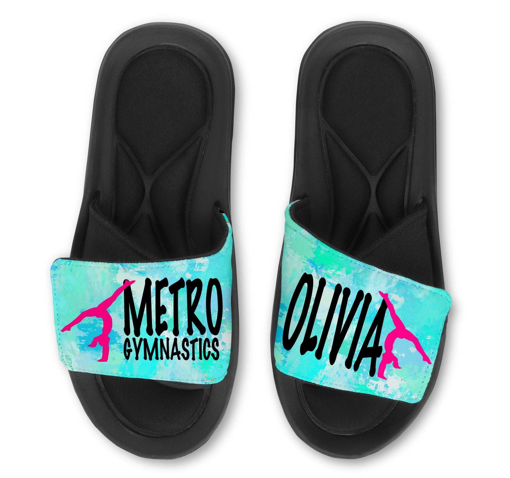 Personalized Gymnastics Slides / Sandals - MARBLE - Choose your Background Color!