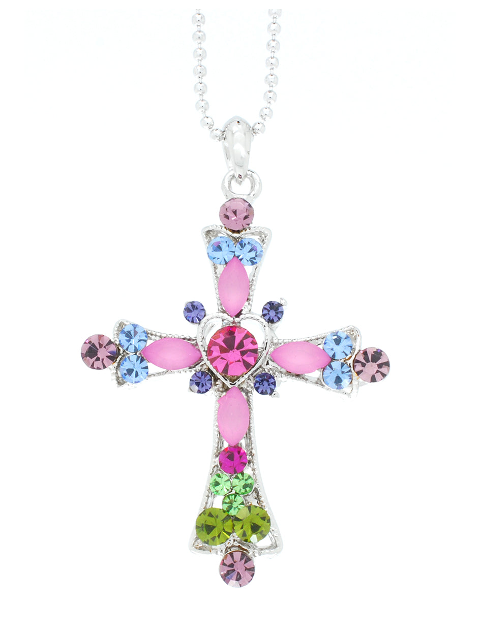 Heart Cross Necklace - Large