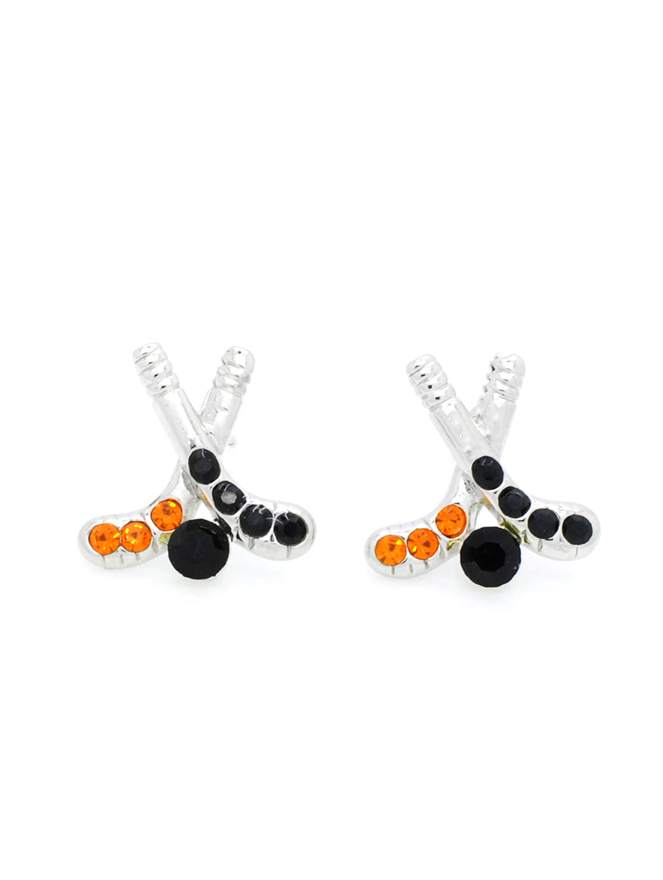 Hockey Earrings POST - Orange/Black