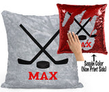 PERSONALIZED Hockey Sticks Sequin Mermaid Flip Pillow