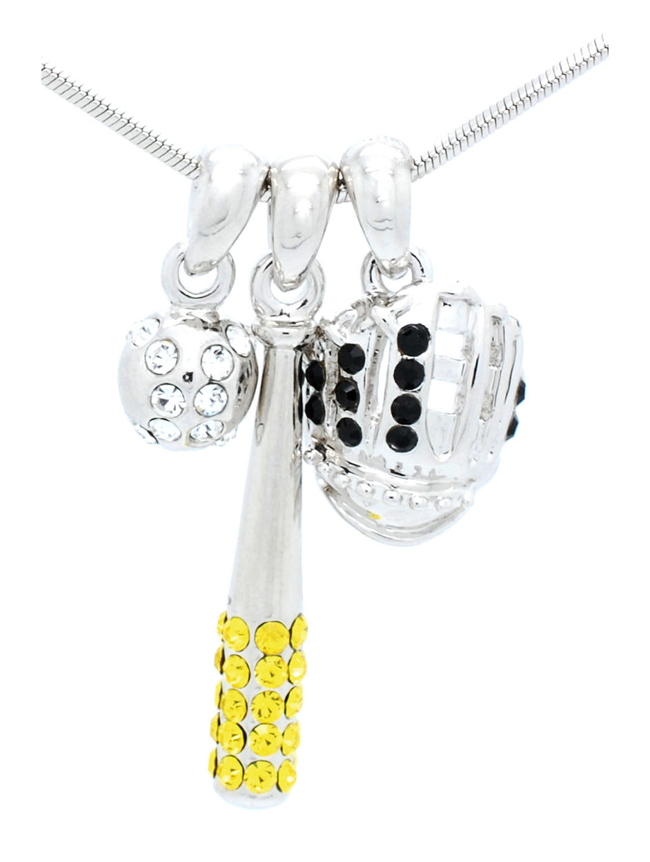 Bat/Ball/Glove Combo Necklace - Black/Yellow