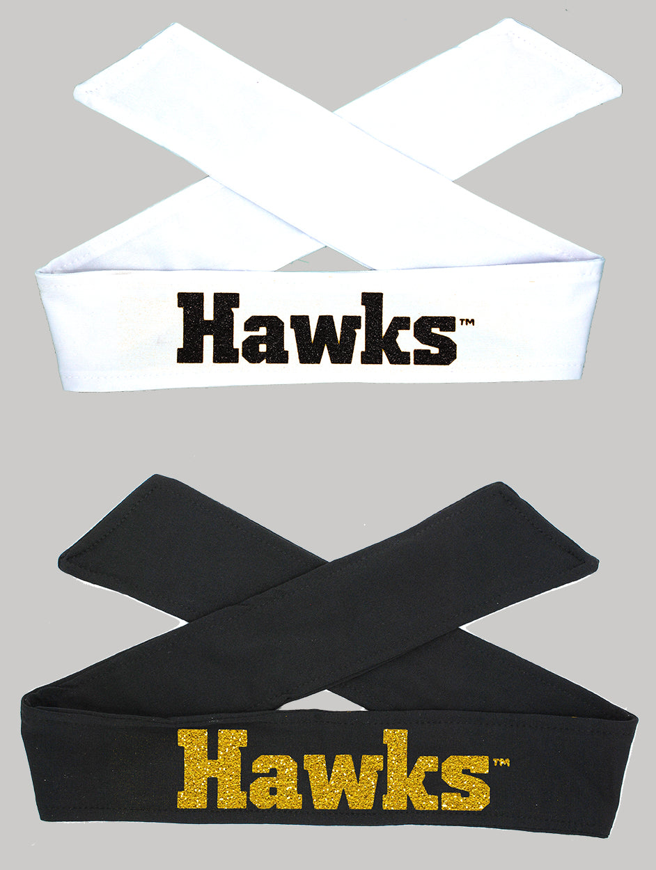 Iowa HAWKS Tie Headband - Black or White