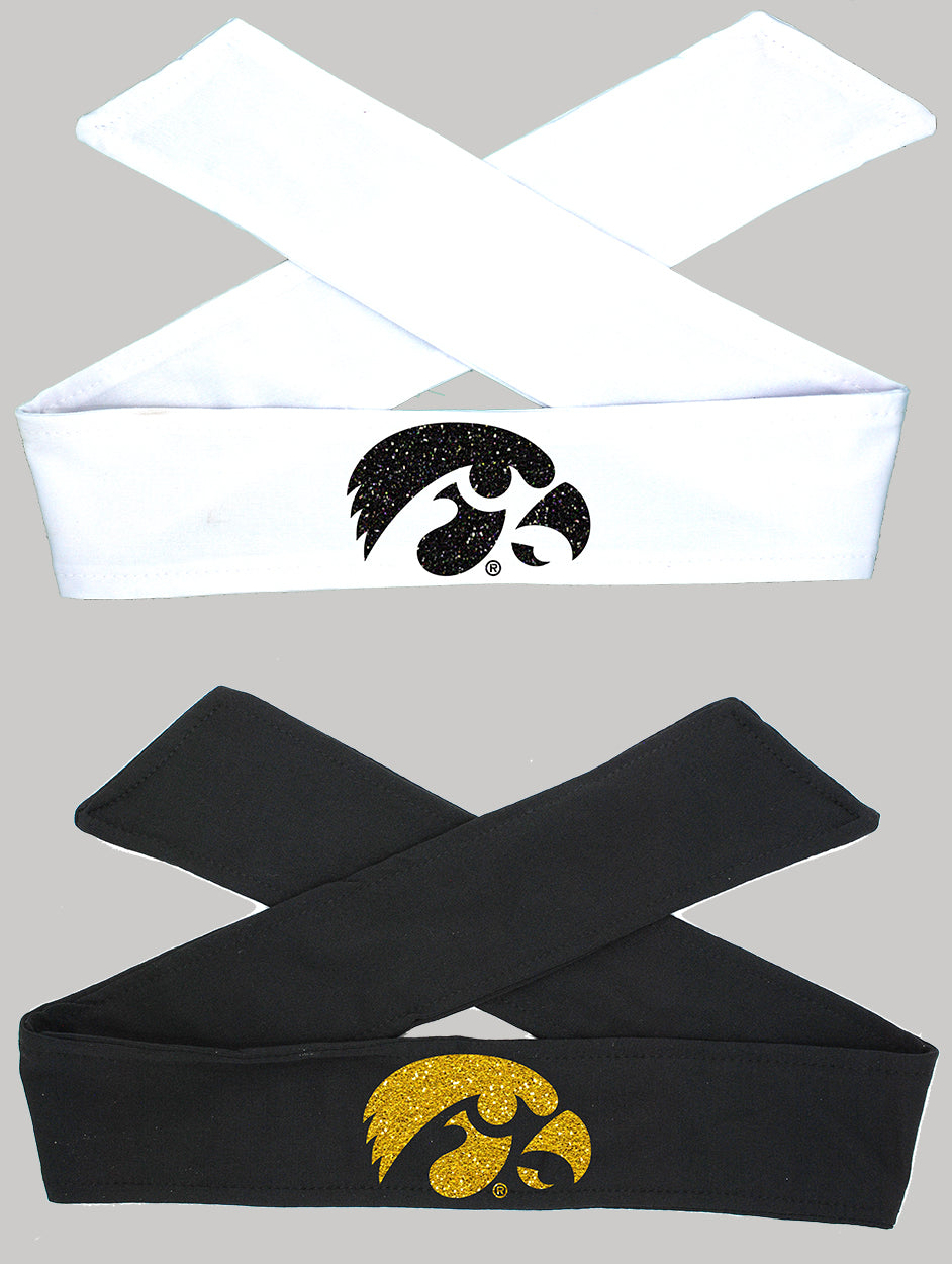 Iowa Tie Headband Hawkeye - Black or White