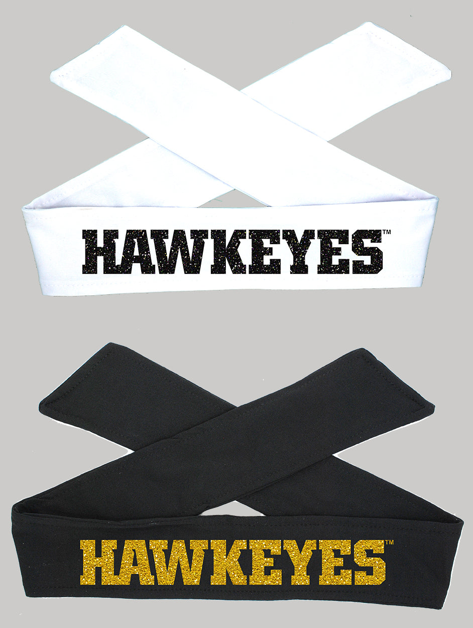 Iowa HAWKEYES Tie Headband - Black or White