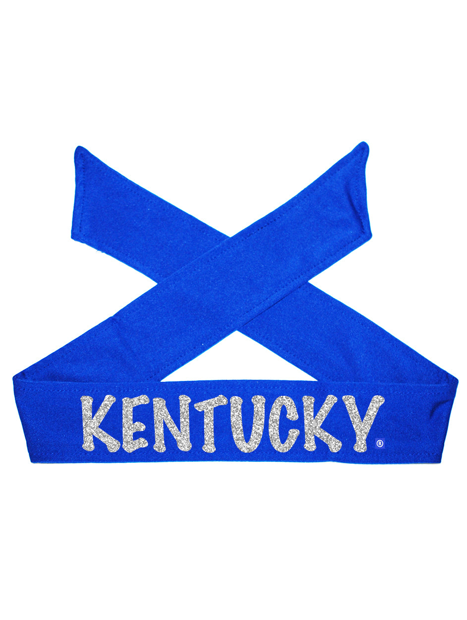 "Kentucky ""Kentucky"" Tie Headband - Royal/Silver Sparkle"
