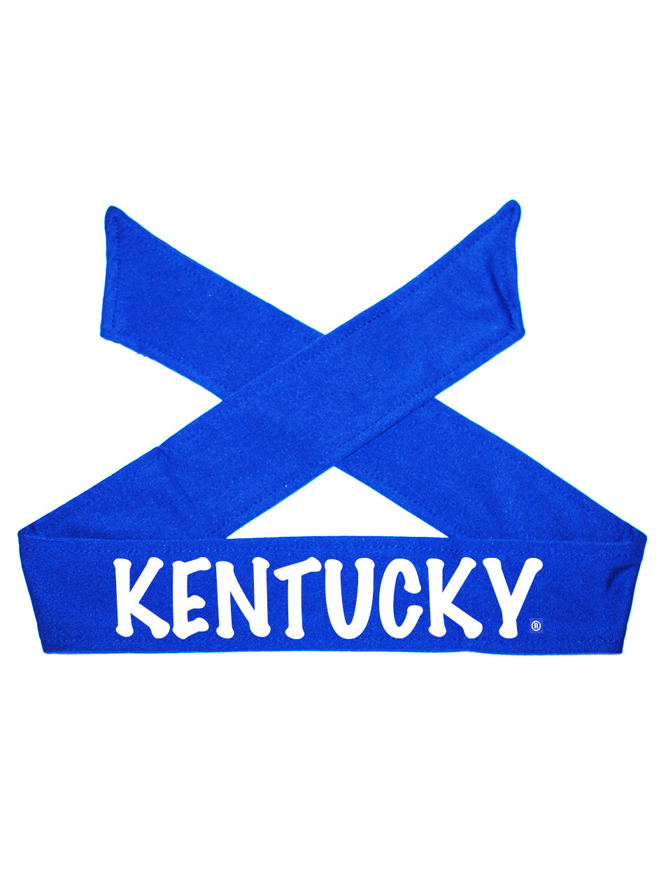 "Kentucky ""Kentucky"" Tie Headband - Royal/Flat White"