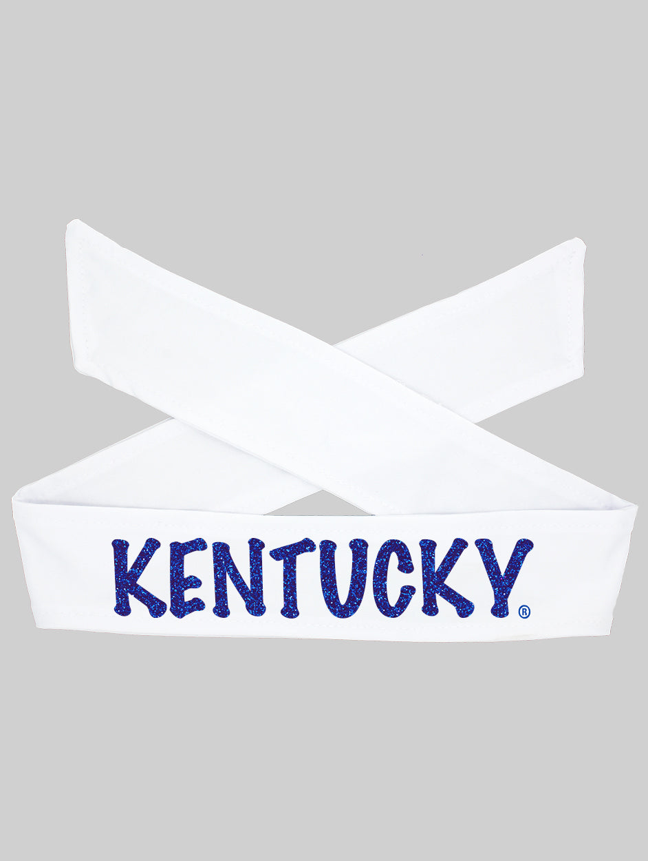 Kentucky Tie Headband - White/Royal Sparkle