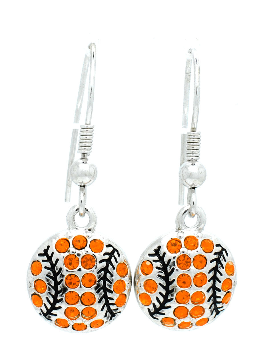 Baseball/Softball Crystal DANGLE Earrings - Large - Orange/Black