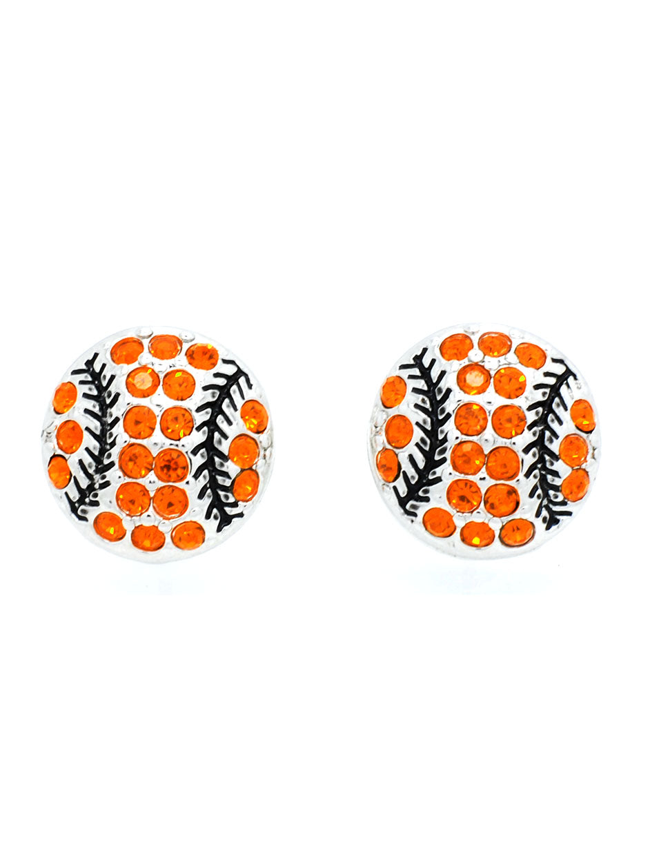 Baseball/Softball Crystal POST Earrings - Large - Orange/Black