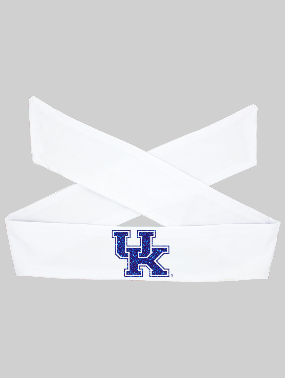 Kentucky UK LOGO Tie Headband - White/Royal Sparkle