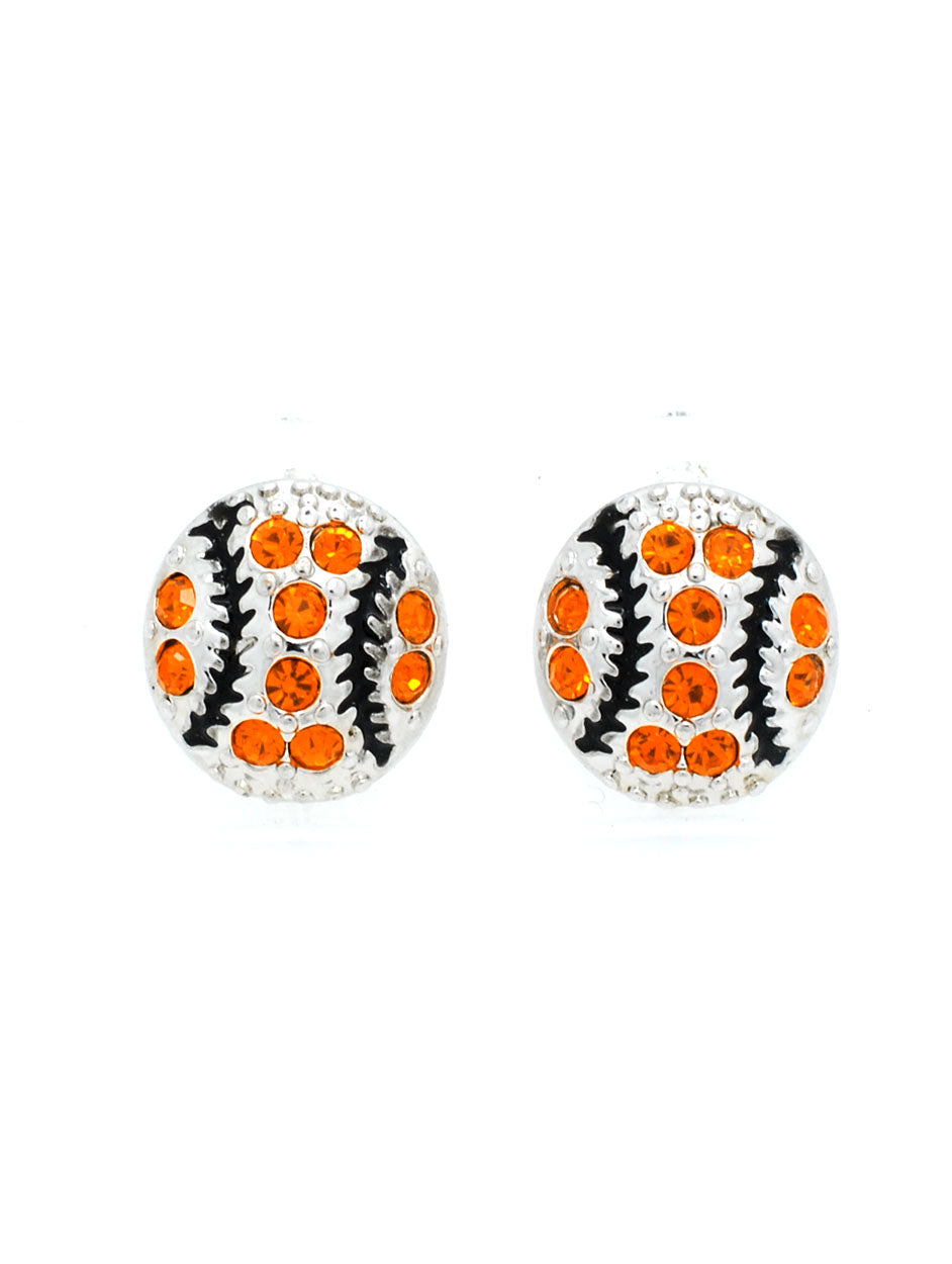 Baseball/Softball Crystal POST Earrings - MINI - Orange/Black