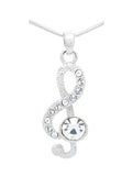 Treble Clef Necklace with Large Stone