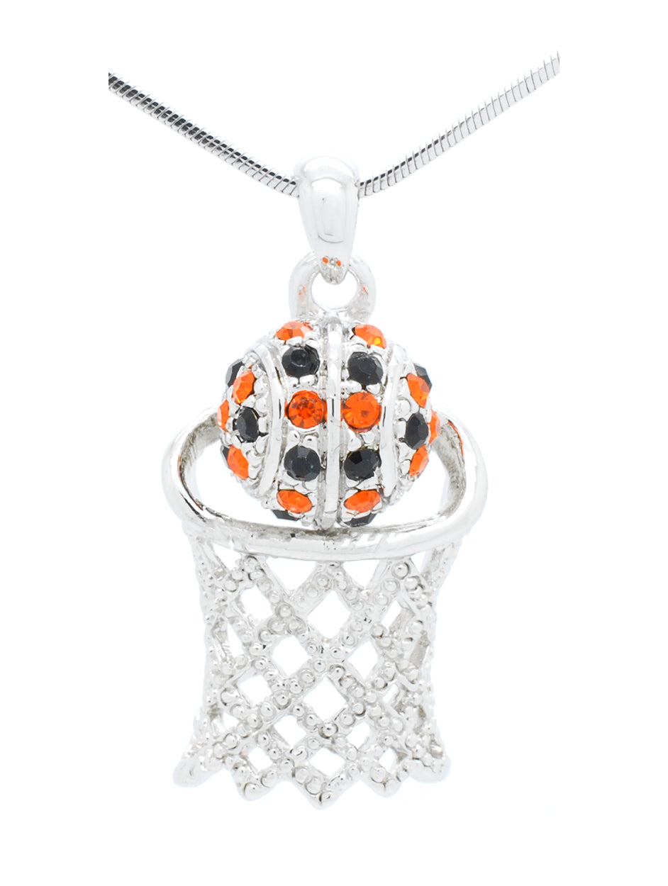 Basketball Hoop Necklace - Orange/Black