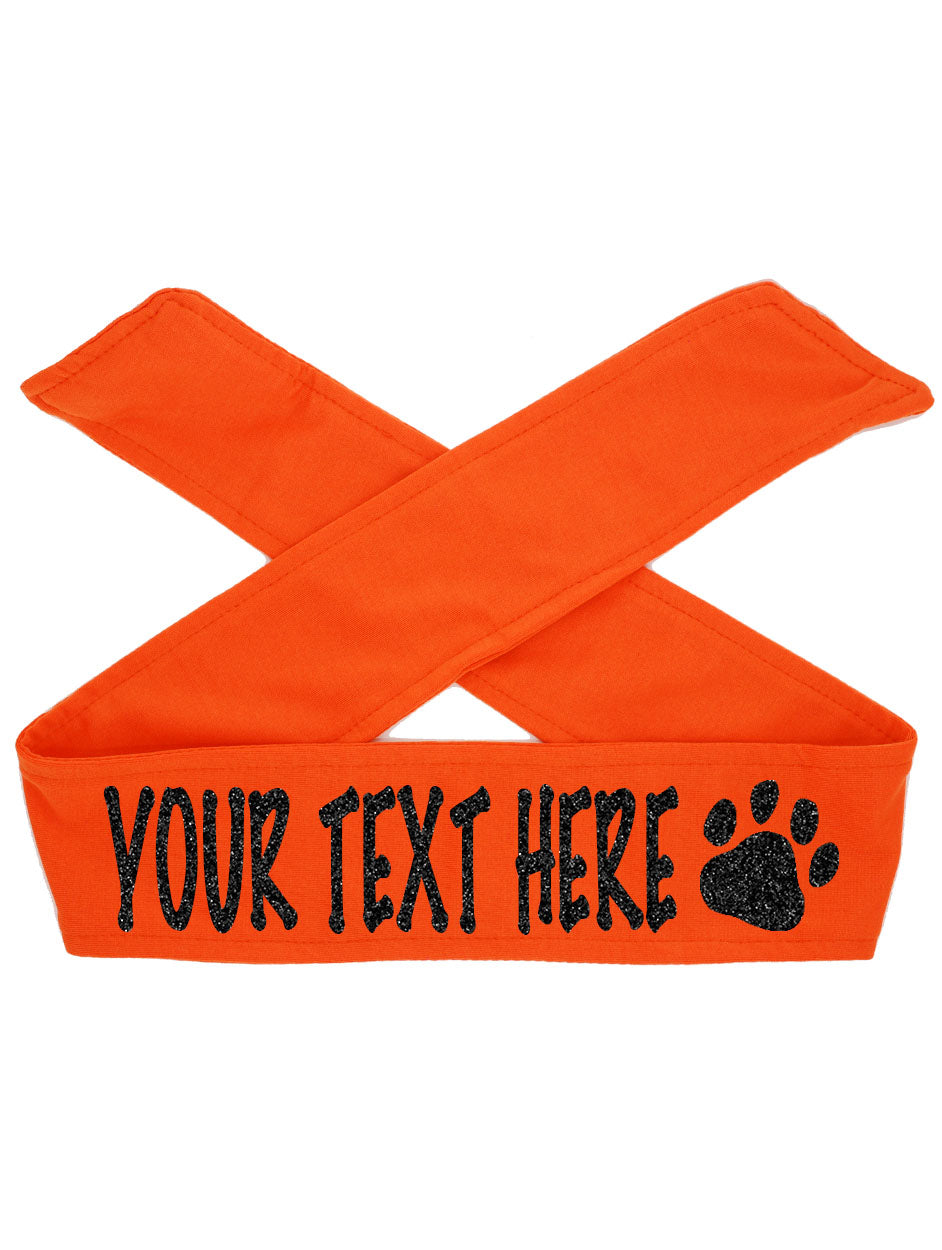 Custom Personalized PAW TIE Headband - Sparkle Letters!