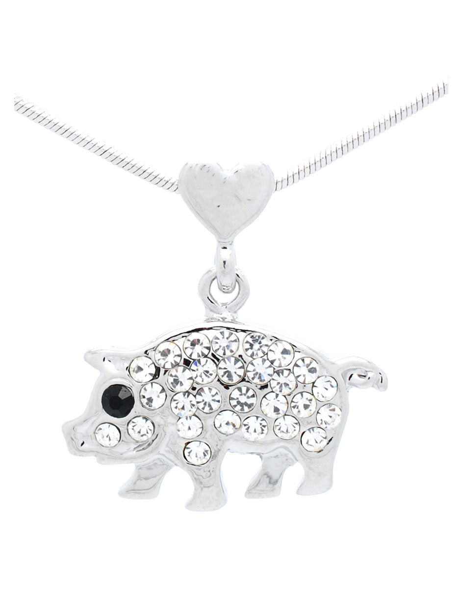 Pig with Heart Bale Necklace