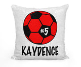 PERSONALIZED SOCCER BALL MERMAID SEQUIN FLIP PILLOW - CHANGE BALL COLOR!