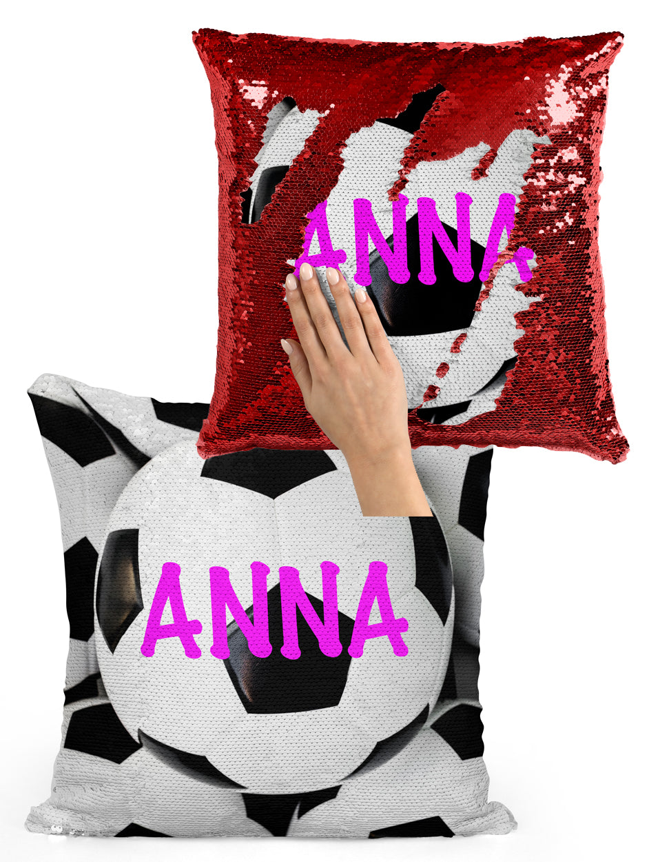 CUSTOM SEQUIN PILLOW - SOCCER BALLS WITH NAME