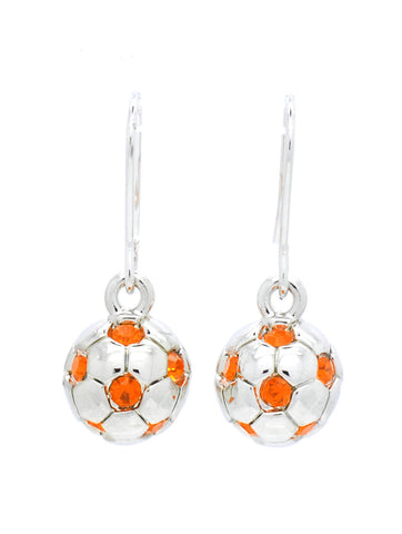 Soccer Ball Earrings - Full Ball - Orange