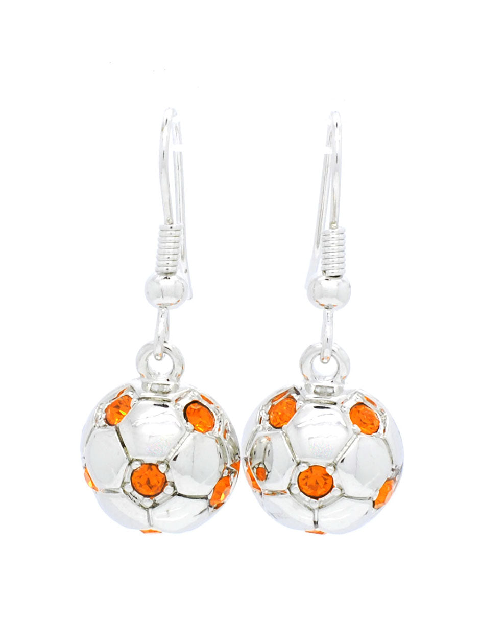 Soccer Ball DANGLE Earrings - Half Ball - Orange