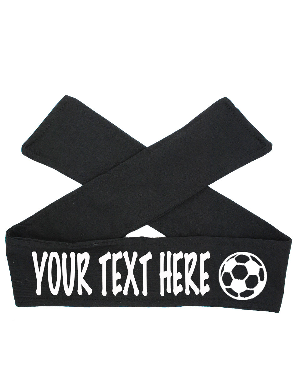 Custom Personalized Soccer TIE Headband - Flat (Non Sparkle) Letters!